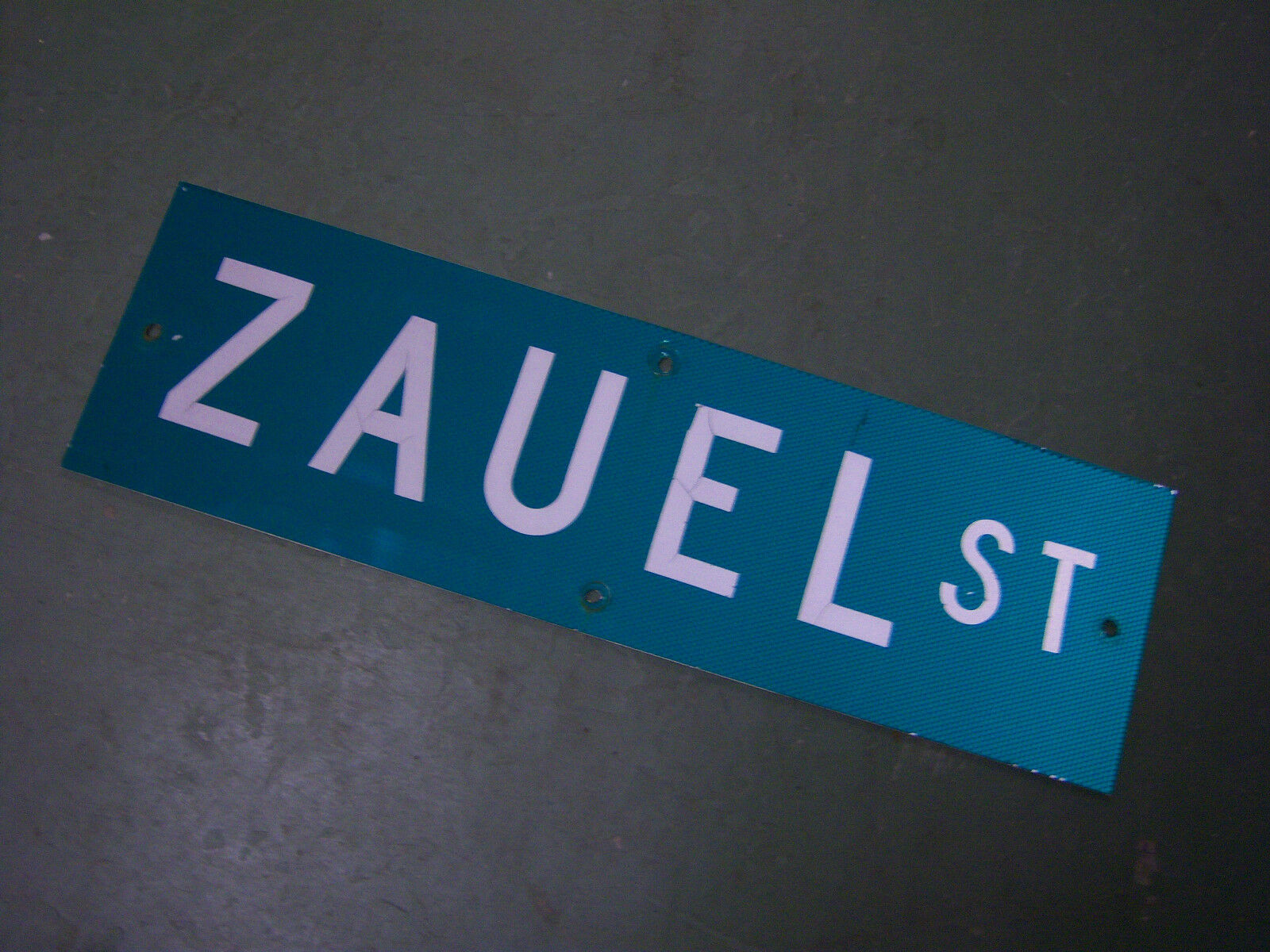 "Vintage ORIGINAL ZAUEL ST STREET SIGN 30"" X 9"" WHITE LETTERING ON GREEN"