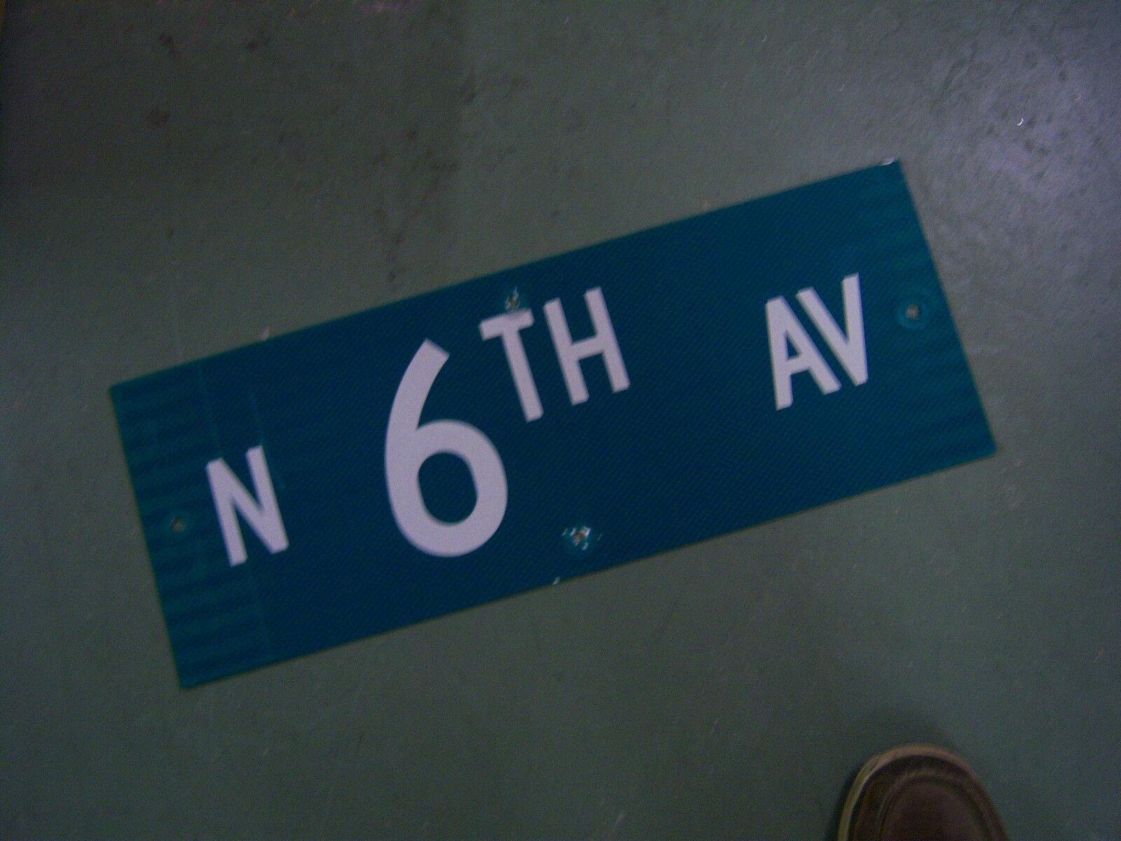 "Vintage ORIGINAL N. 6TH AV STREET SIGN 24' X 6"" WHITE ON GREEN BACKGROUND"