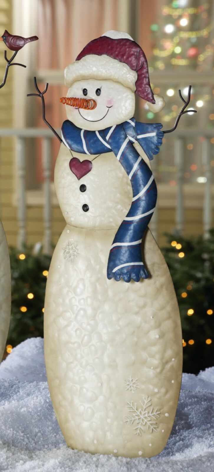 New metal outdoor miss snowman yard stake holiday house
