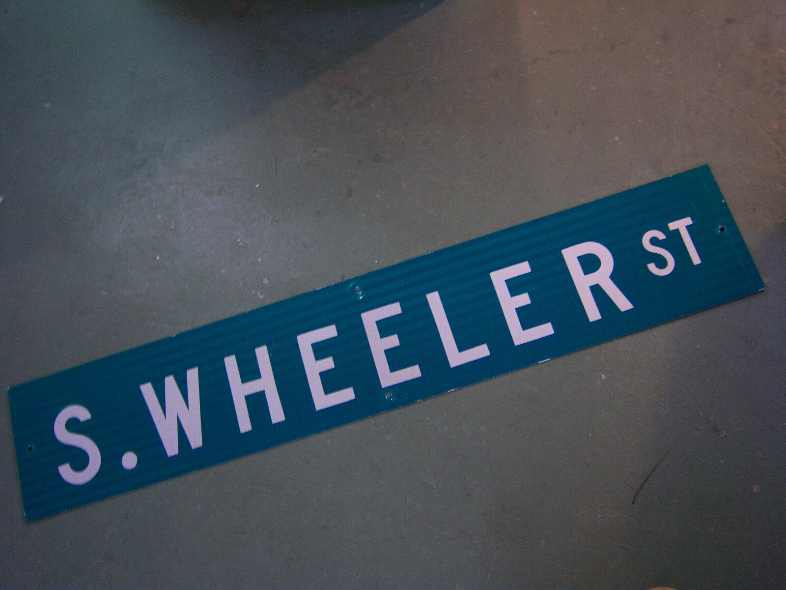 "Large Original S. Wheeler St Street Sign 48"" X 9"" White Lettering On Green"