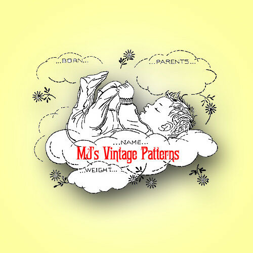 Vintage sampler embroidery pattern baby in the clouds