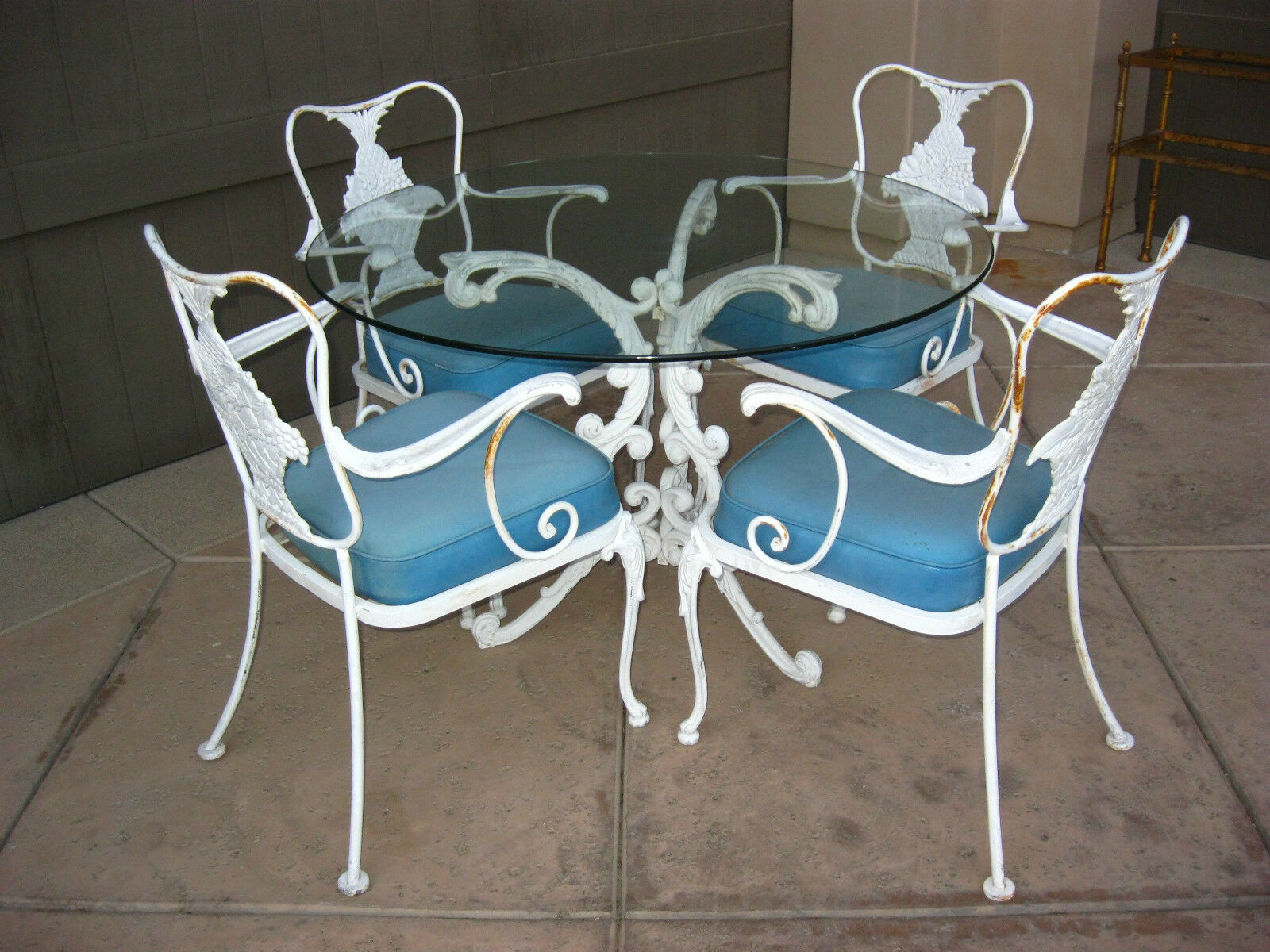 5 Piece Vintage PATIO FURNITURE SET Ornate Wrought Iron FRENCH COUNTRY COTTAG