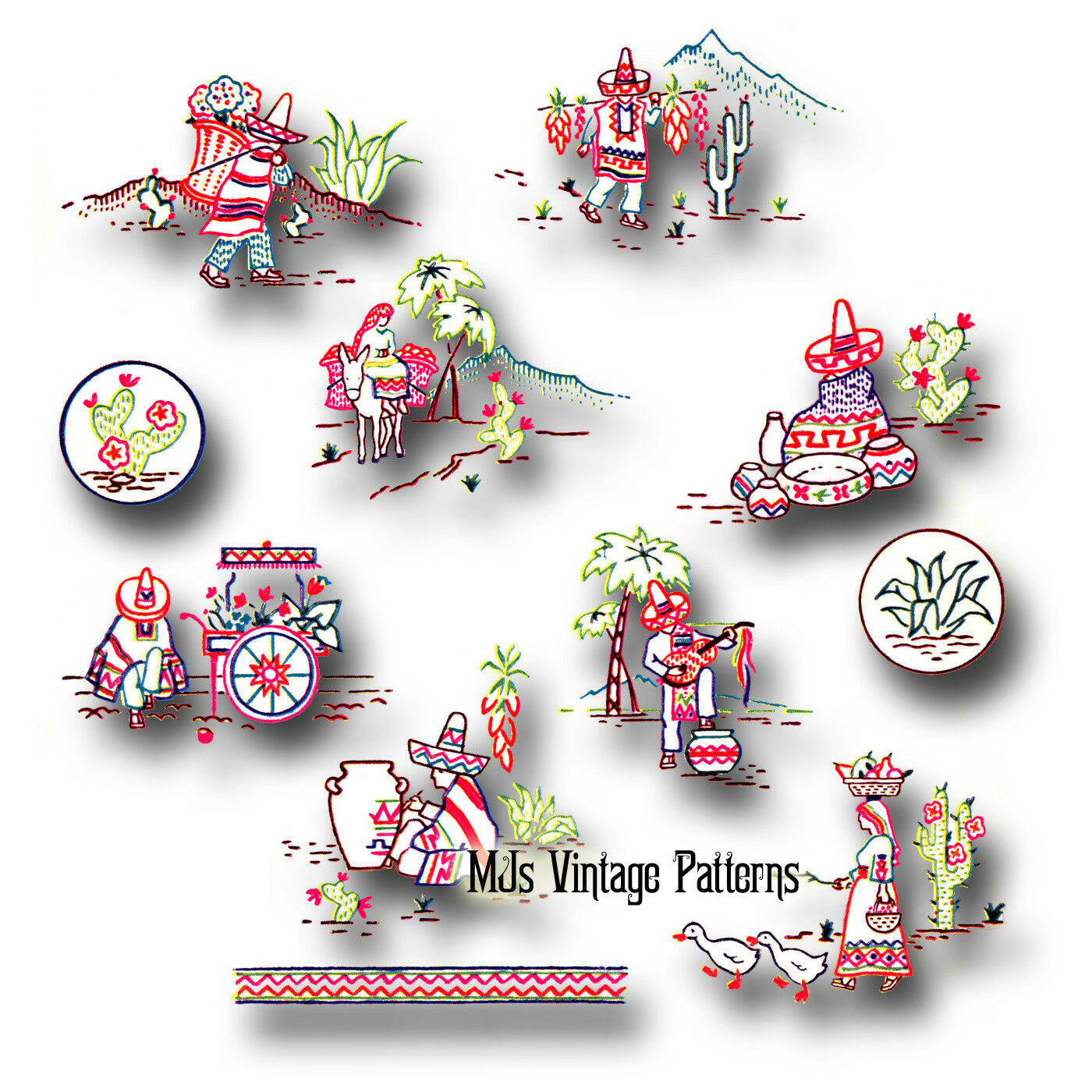 Mexican Embroidery Patterns Custom Decorating Design