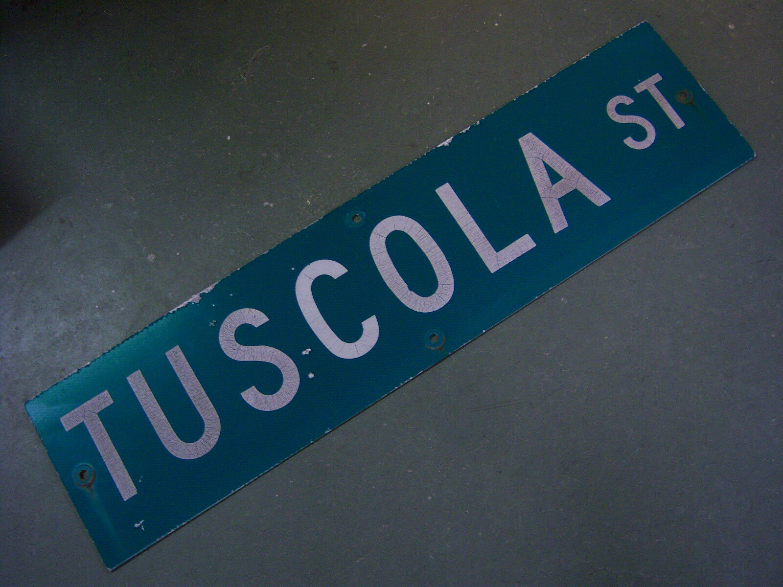 "Vintage ORIGINAL TUSCOLA ST STREET SIGN WHITE ON GREEN BACKGROUND 36"" X 9"""