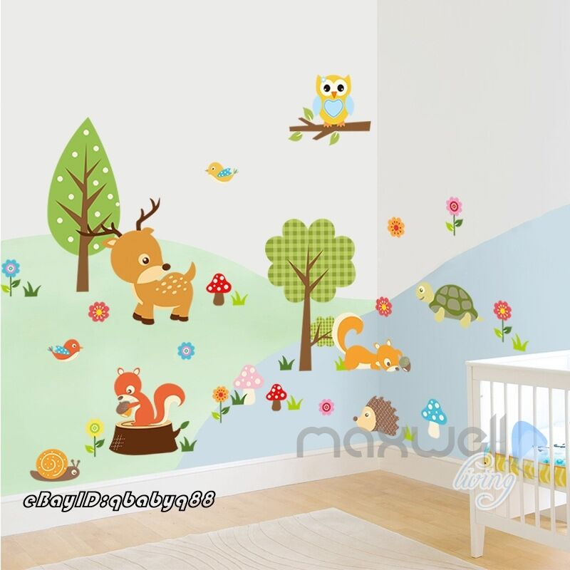 Animals deer squirrel snail owl tree bird wall decals for Bird and owl tree wall mural set