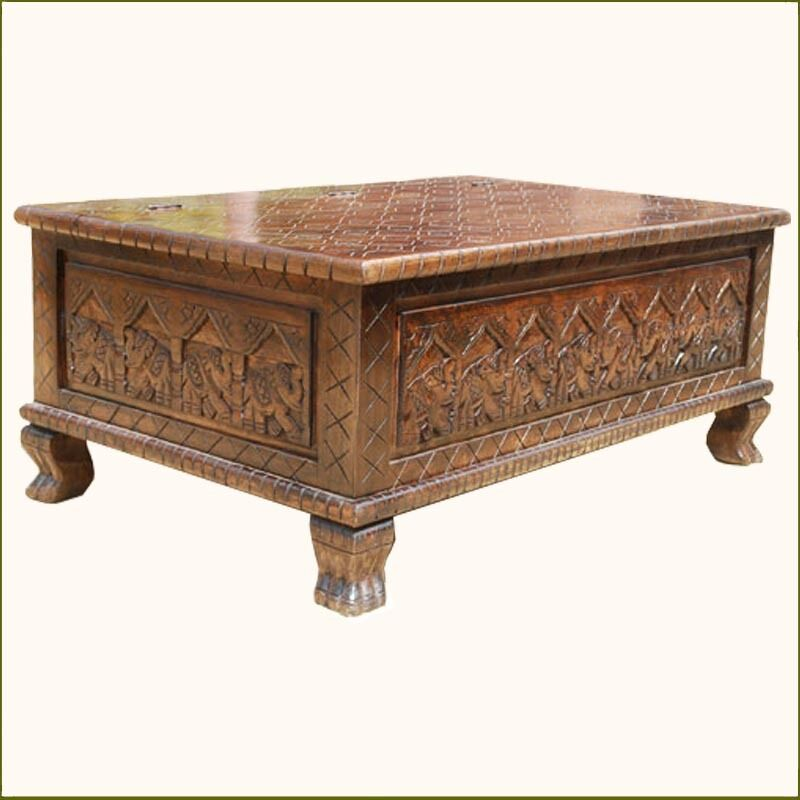 Wood Elephant Hand Carved Storage Box Trunk Chest Coffee Table Furniture 1 Picclick