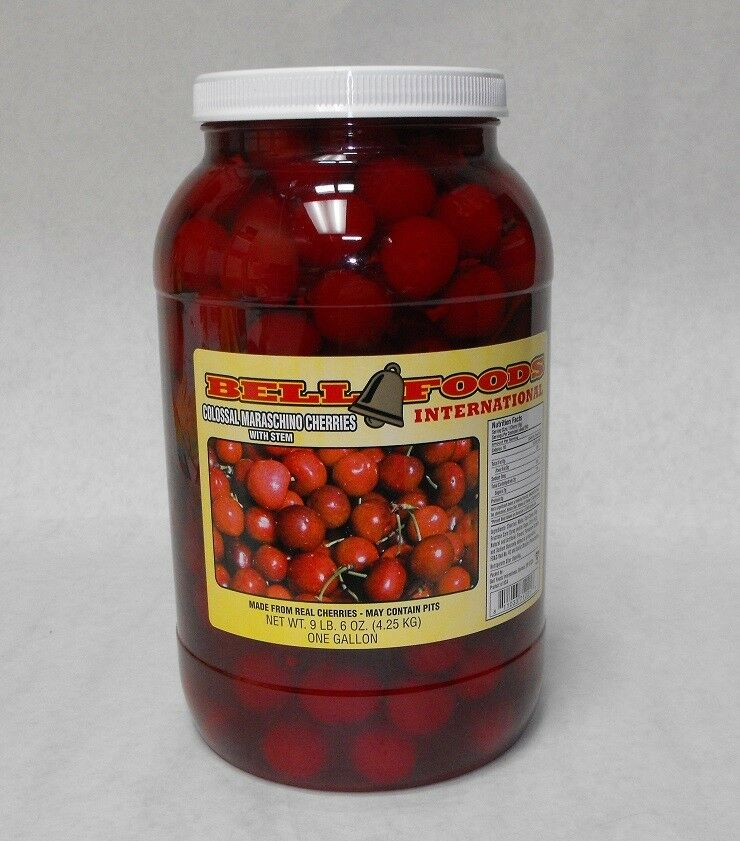 GALLON MARASCHINO COCKTAIL CHERRIES with stem HUGE! COLOSSAL free ...