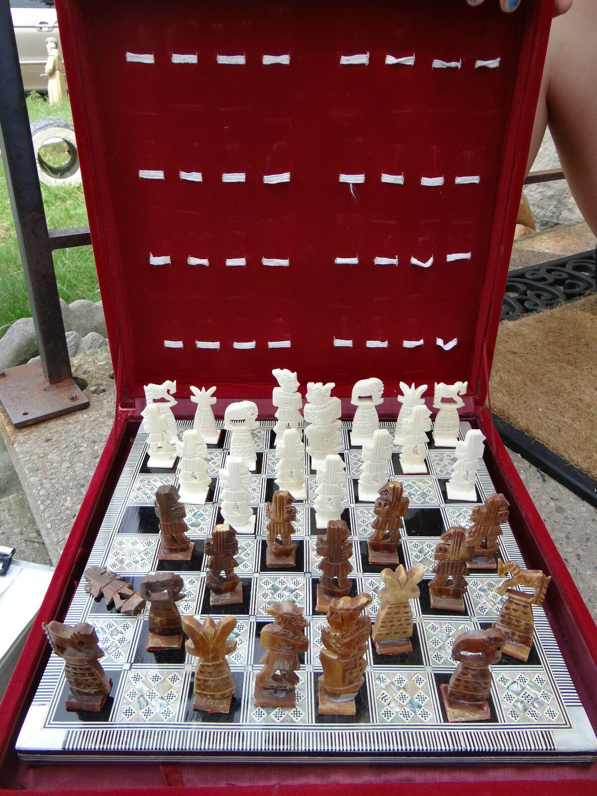 Chess set ornate middle eastern bone carved with inlaid board cad picclick ca - Ornate chess sets ...
