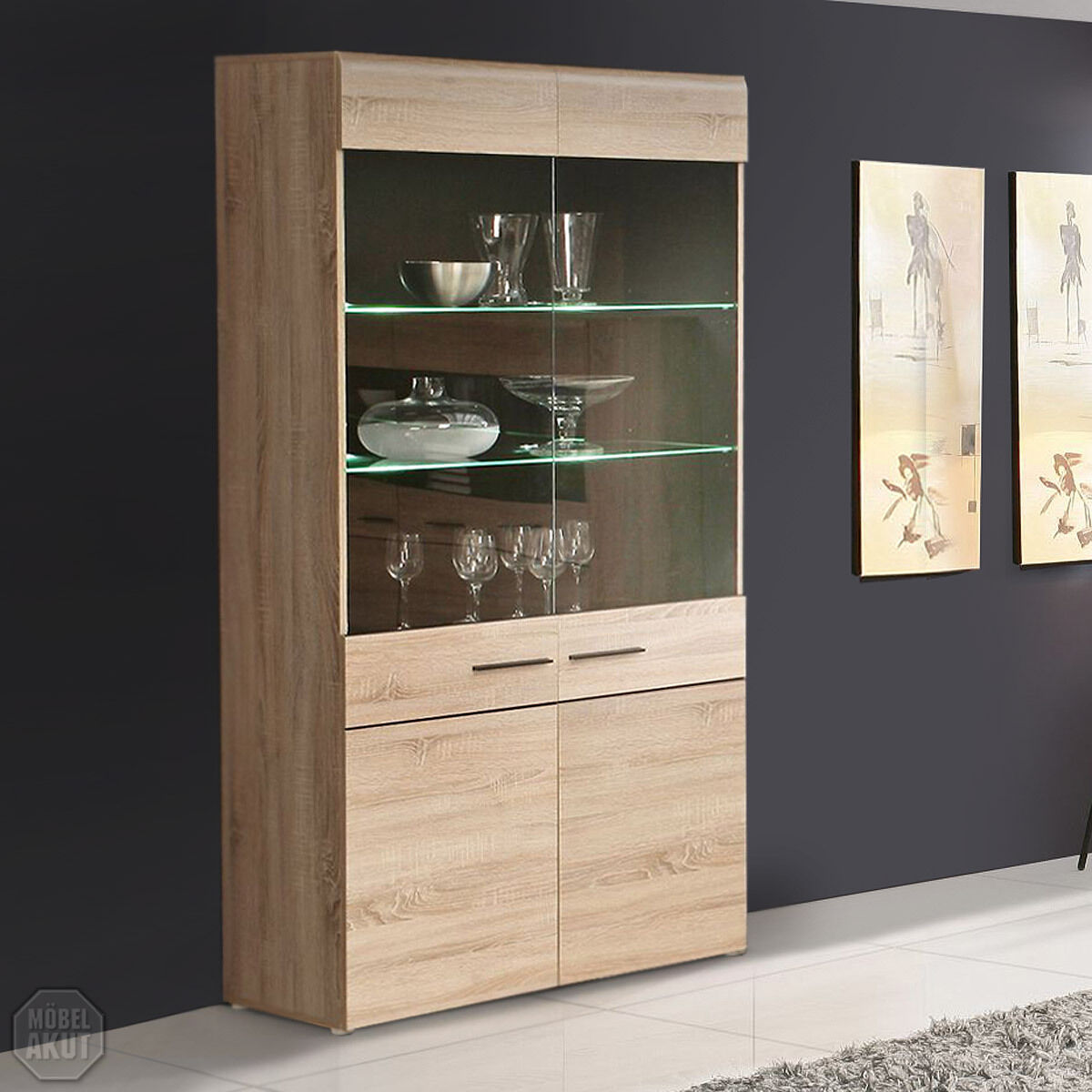 vitrine combino buffet vitrine schrank highboard sonoma denver eiche wenge led eur 289 95. Black Bedroom Furniture Sets. Home Design Ideas