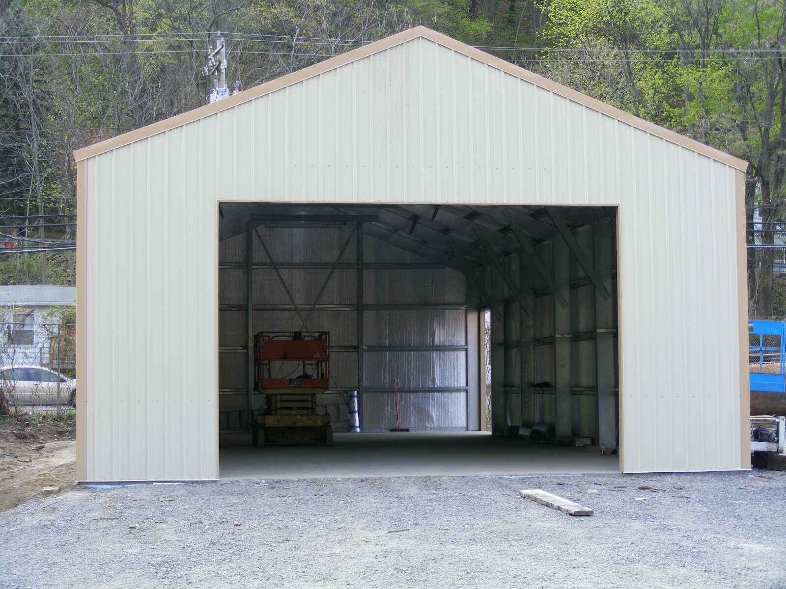 38 x 60 insulated steel garage shop building metal kit for Garage building kits canada