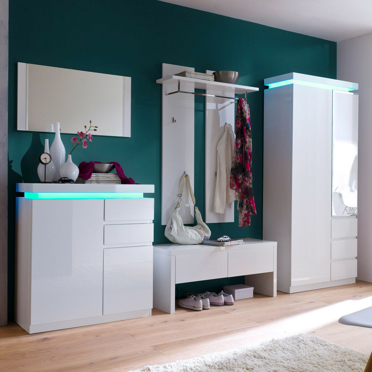 garderobenset ocean garderobe flurm bel wei hochglanz lack rbg beleuchtung eur 989 95. Black Bedroom Furniture Sets. Home Design Ideas