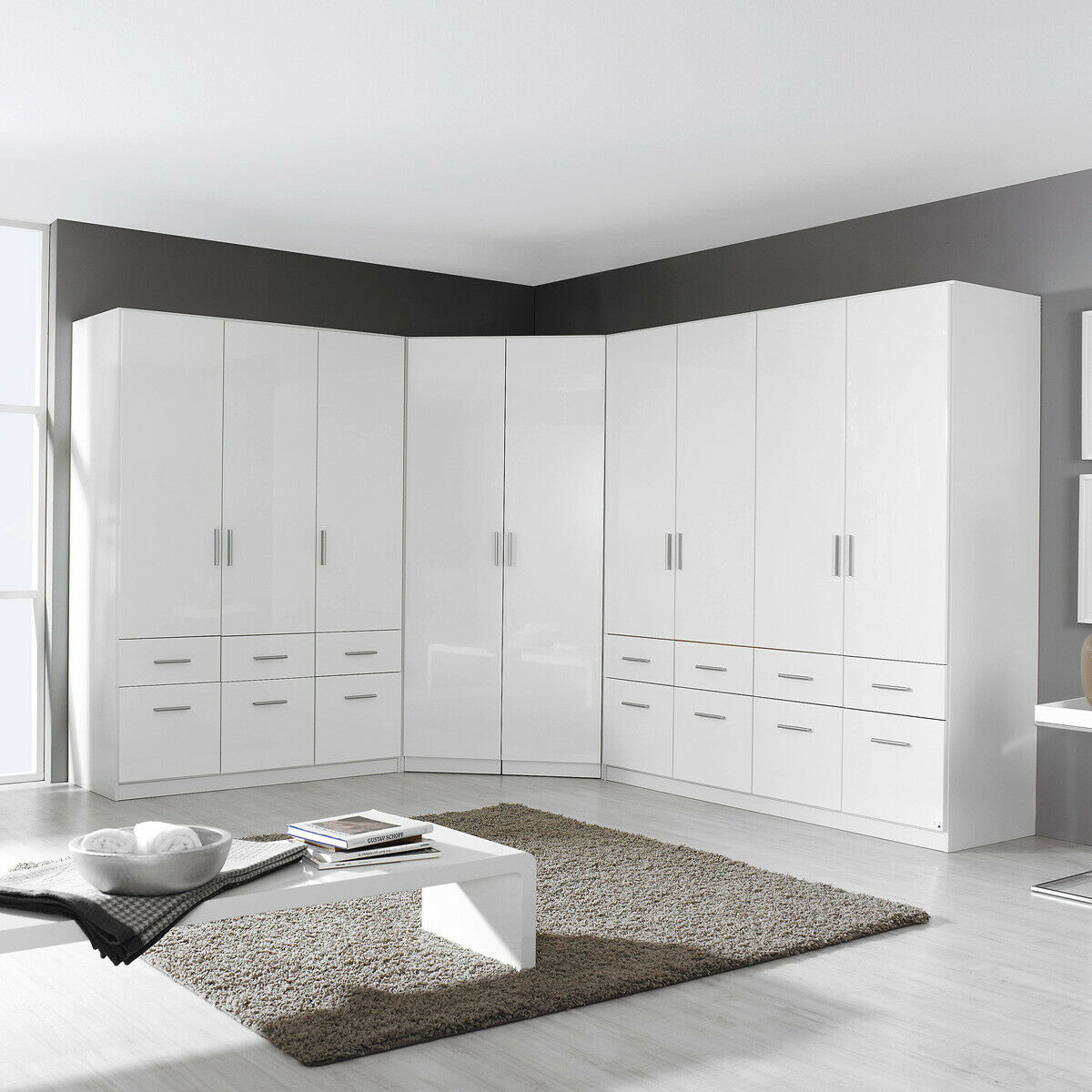 kleiderschrank kombination celle schrank dreht renschrank in wei hochglanz eur 949 95. Black Bedroom Furniture Sets. Home Design Ideas