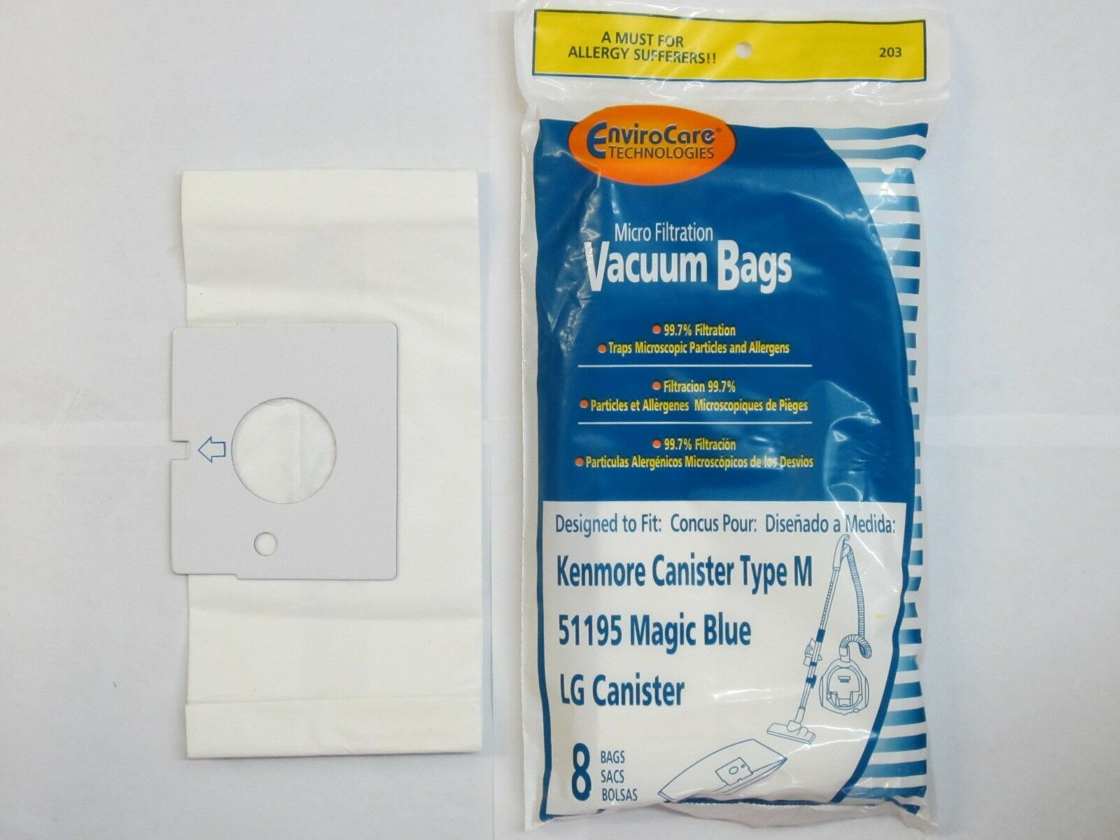 Envirocare Replacement Vacuum Bags For Kenmore 51195 Magic Blue Canisters 8 Pack 203 Christmas Ornament