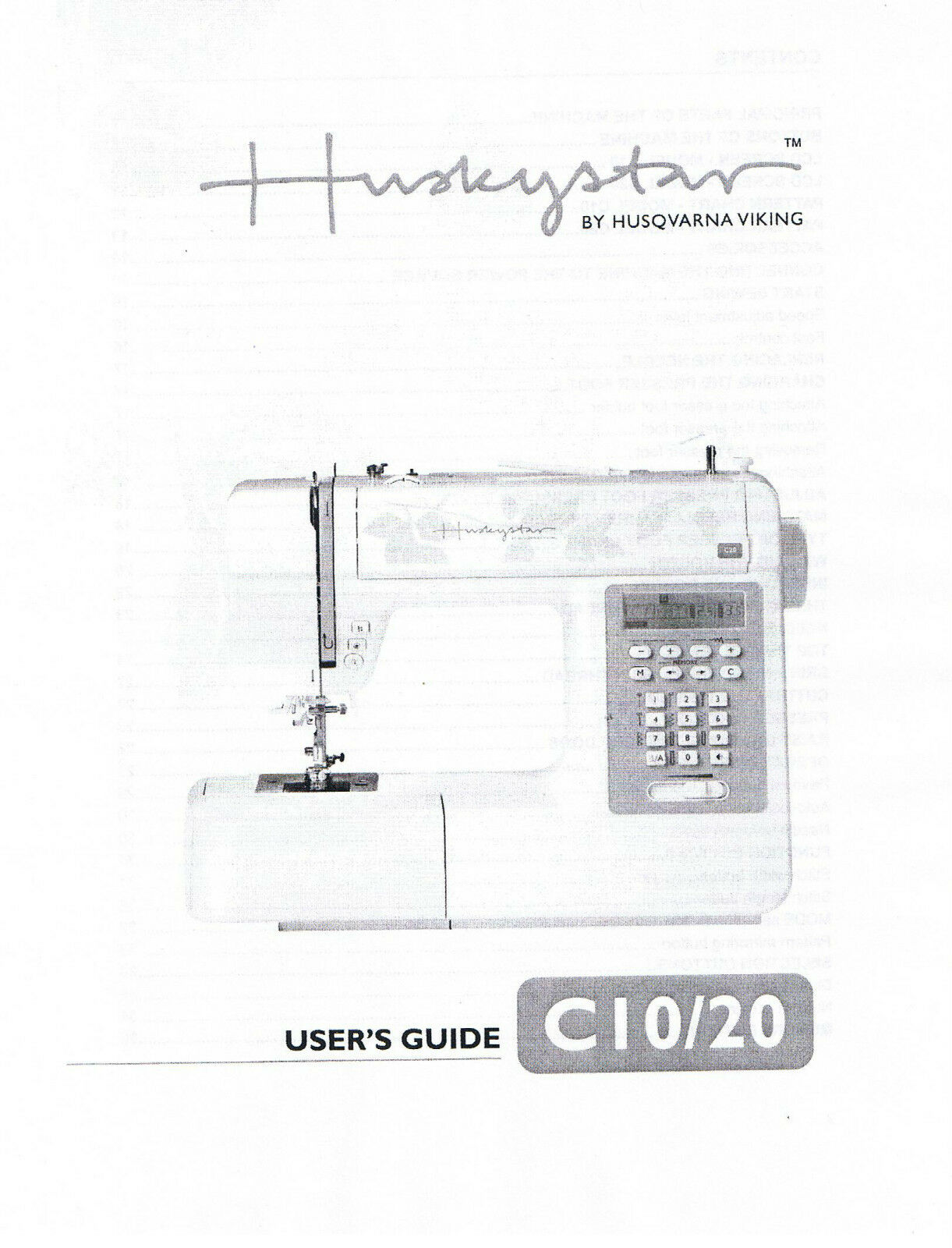 Husqvarna Viking Huskystar C10 C20 Owners Users Operators Guide Manual Book  1 of 1Only 1 available ...