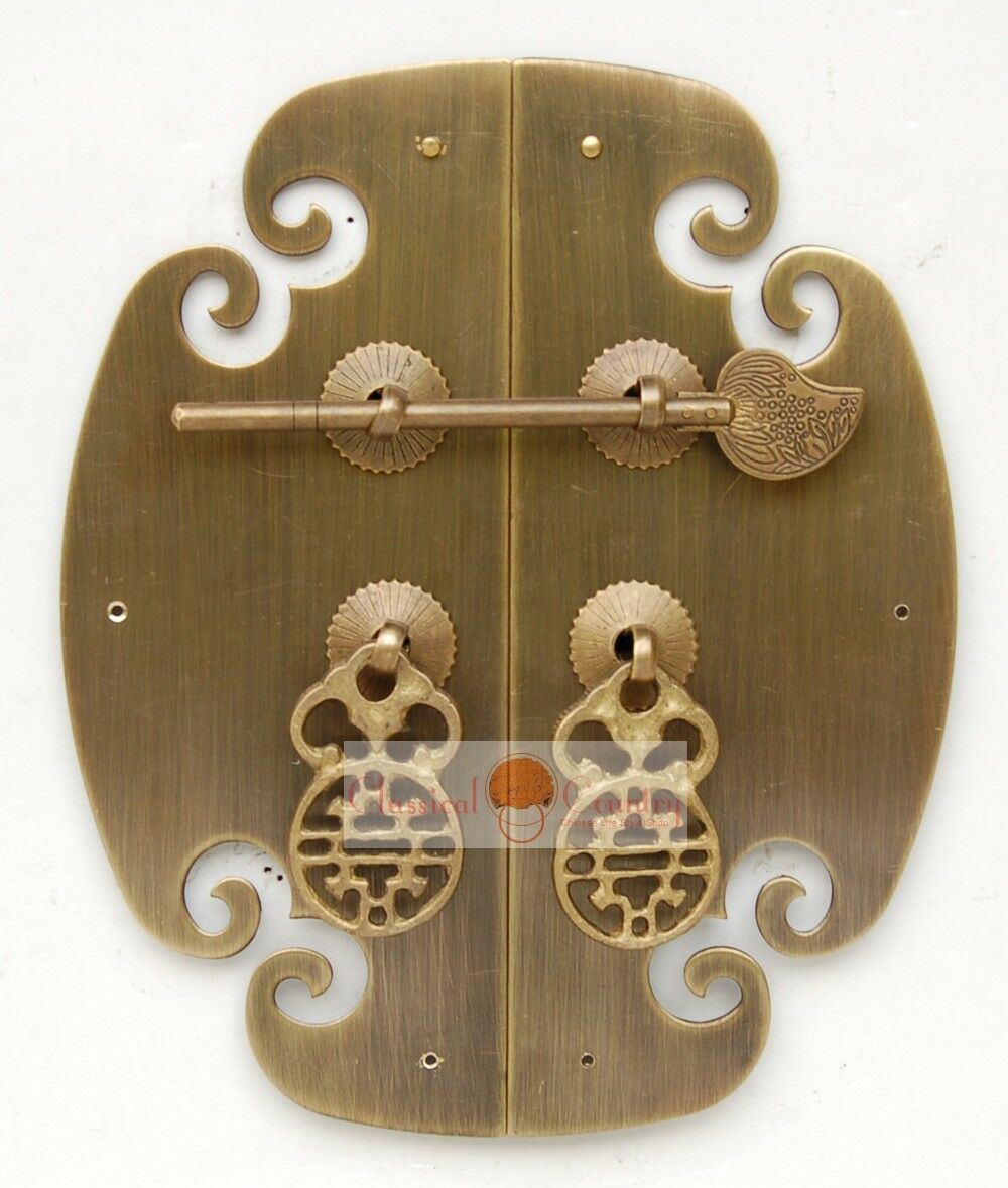 """Furniture Brass Hardware Cabinet Face Plate Copper w/ Locking Pin Handle 6.9"""""""