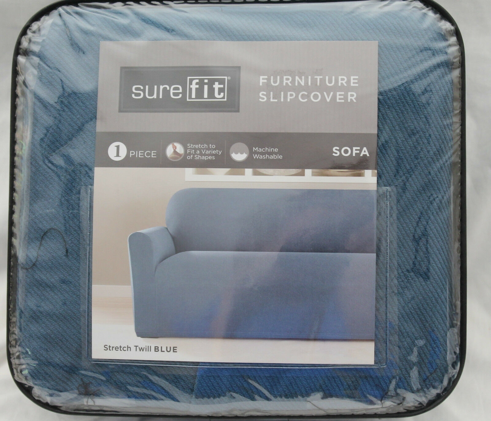 Sure Fit Stretch Twill Blue SOFA Slipcover one piece new • $74 99