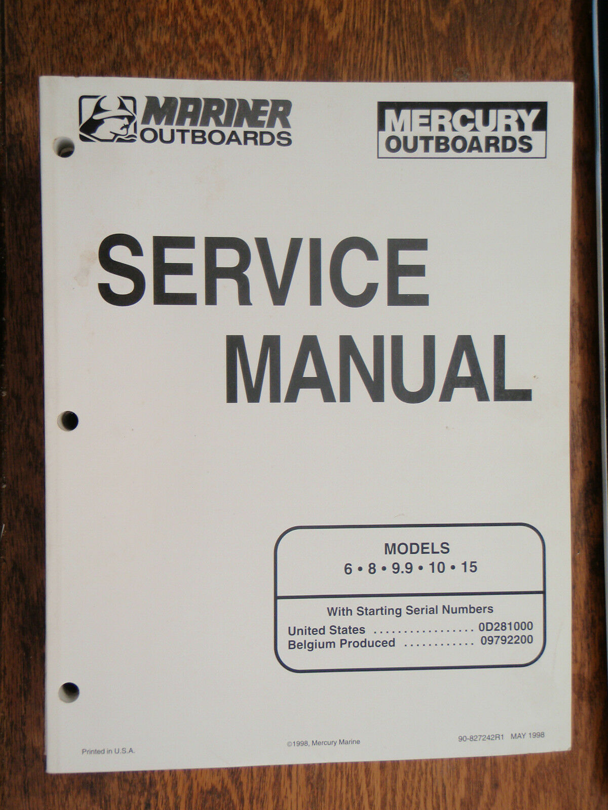 Service Manual Mercury 6Hp 8Hp 9.9Hp 10Hp 15Hp 90-827242R1 Mariner Motors  Boat 1 of 1Only 1 available See More