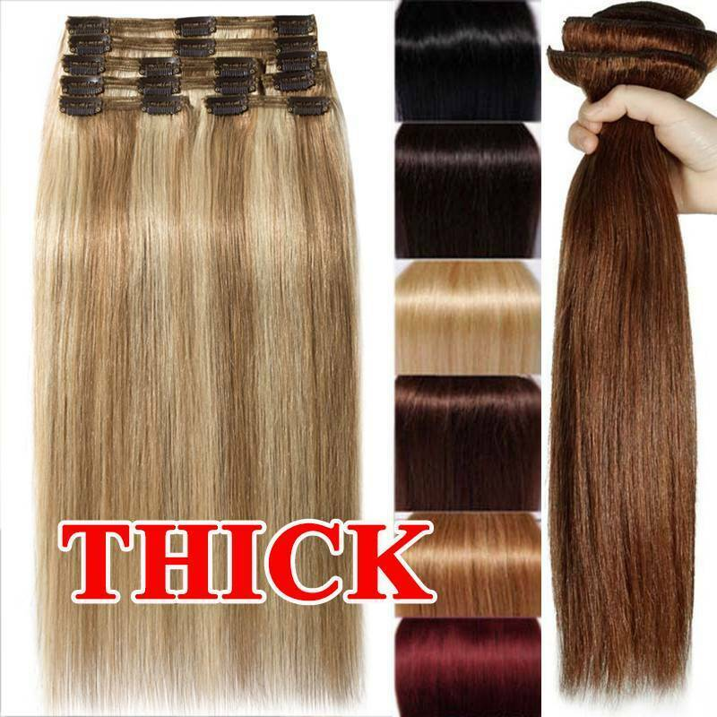 Luxury Clip In Remy Human Hair Extensions Thick Double Weft Full