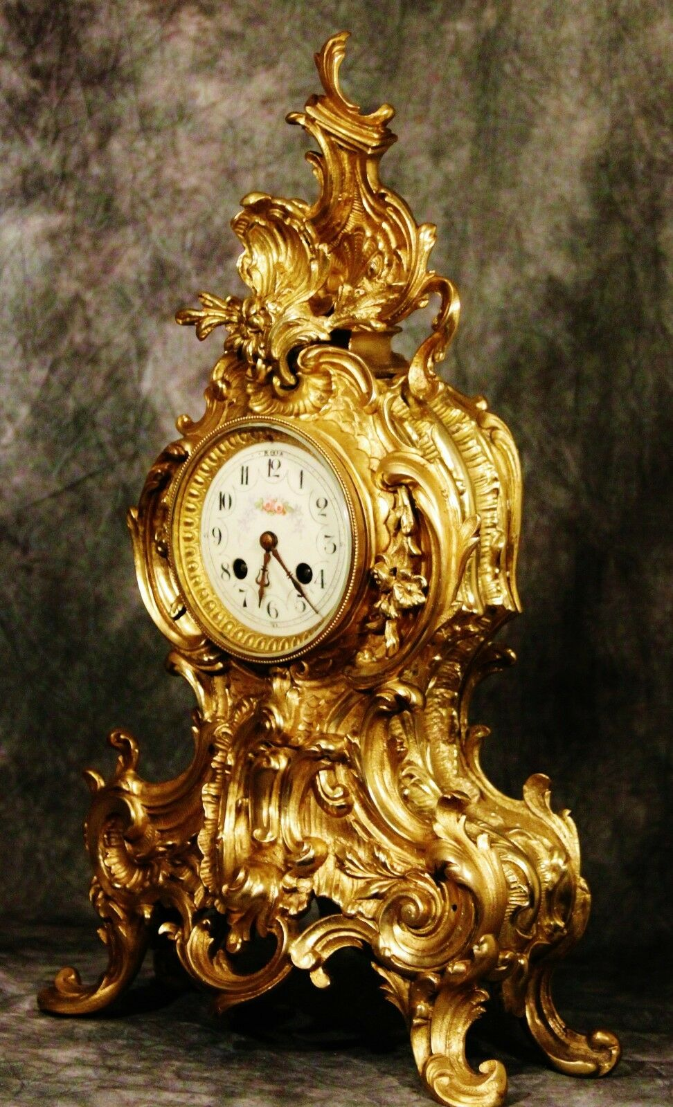 Gorgeous French Antique Heavy Solid Gilt  Bronze Clock 19Th C