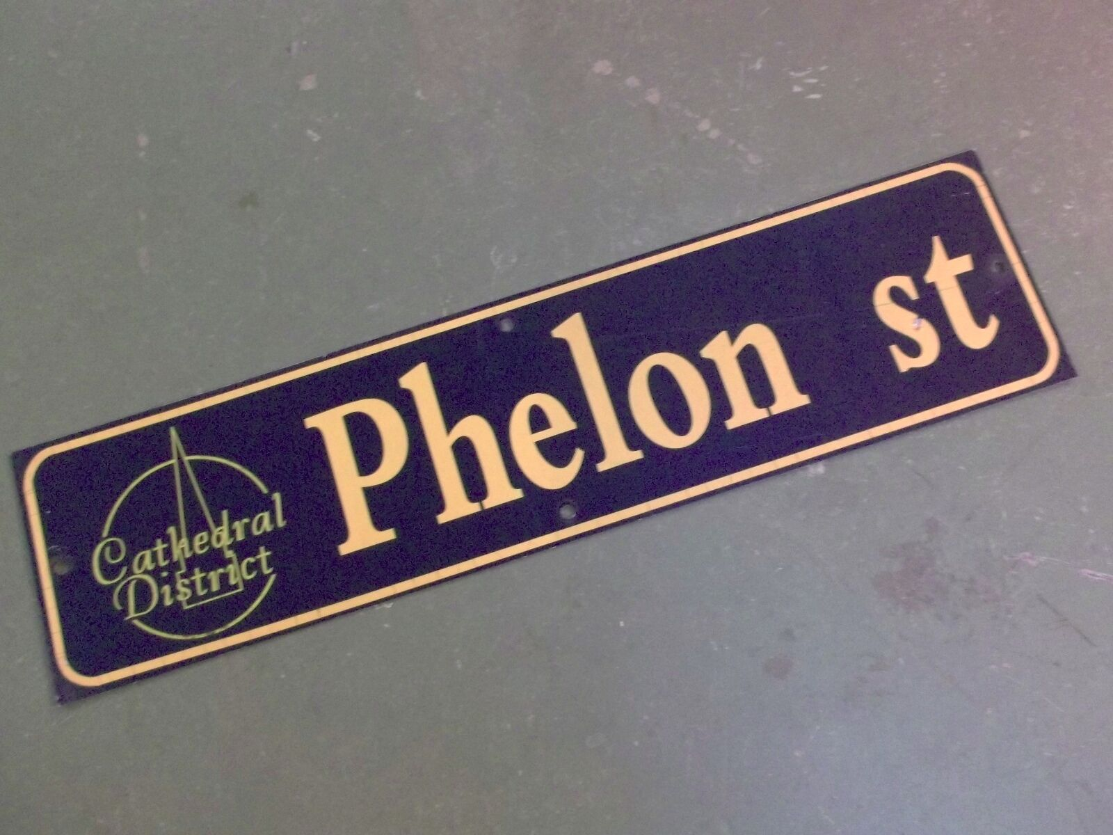 "Vintage PHELON ST Cathedral District Street Sign 36"" X 9"" - GOLD on NAVY Ground"