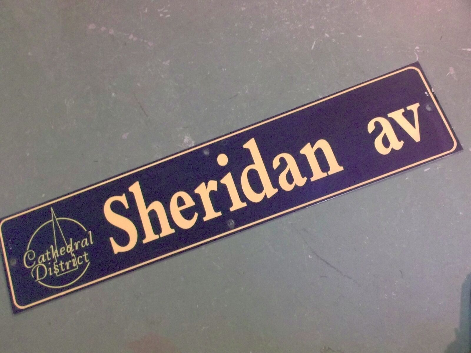 "Vintage SHERIDAN AV Cathedral District Street Sign 42"" X 9"" -GOLD on NAVY Ground"