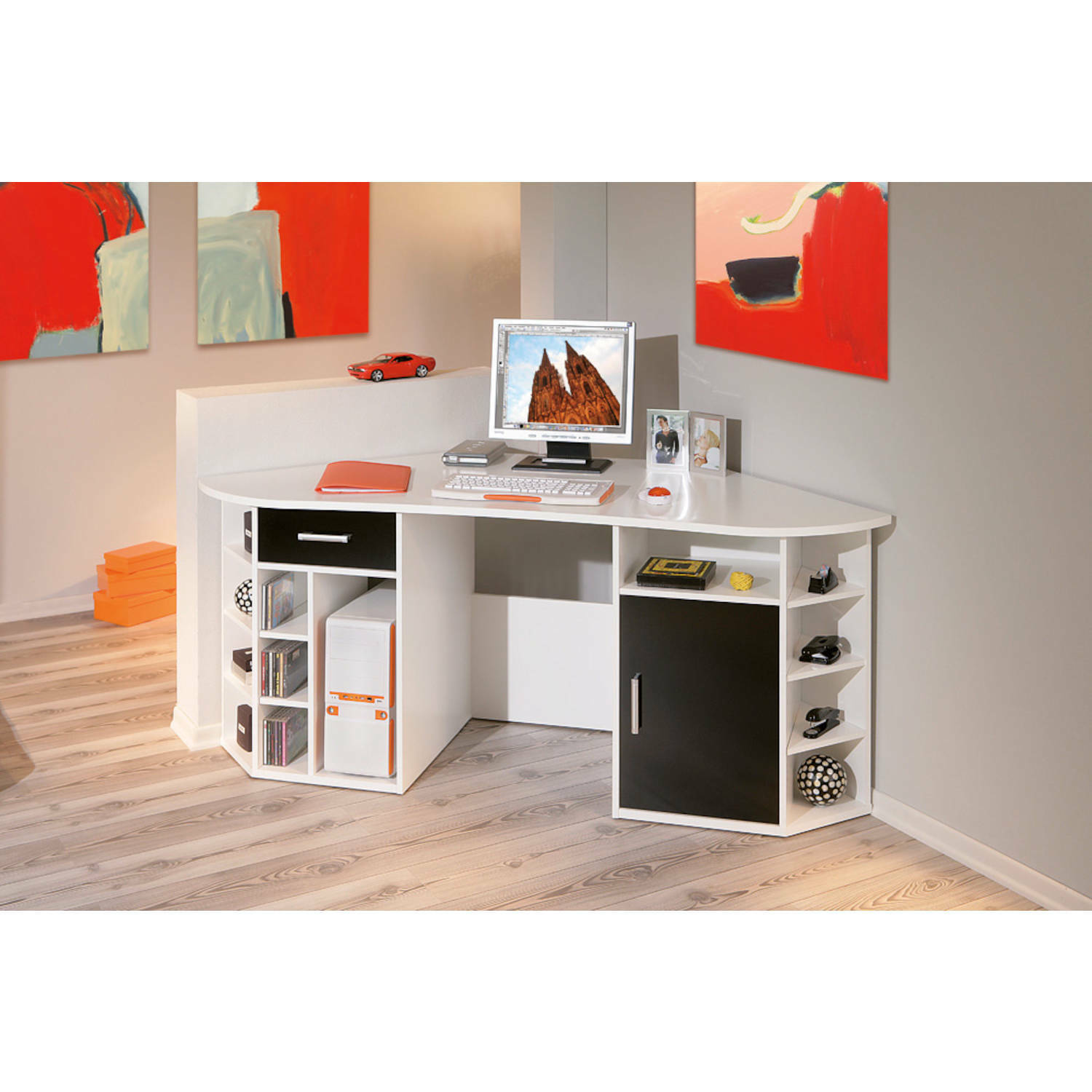 schreibtisch eckschreibtisch wei schwarz computertisch pc tisch b ro b rom bel eur 168 30. Black Bedroom Furniture Sets. Home Design Ideas