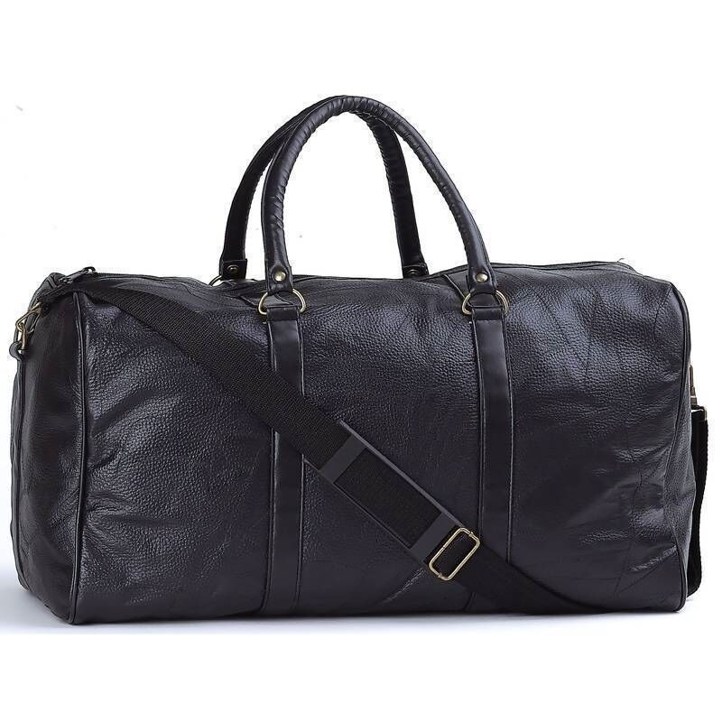 """NEW 21""""  Black Pebble Grain Leather Duffle Tote Bag- Gym Carry On Mens Luggage"""
