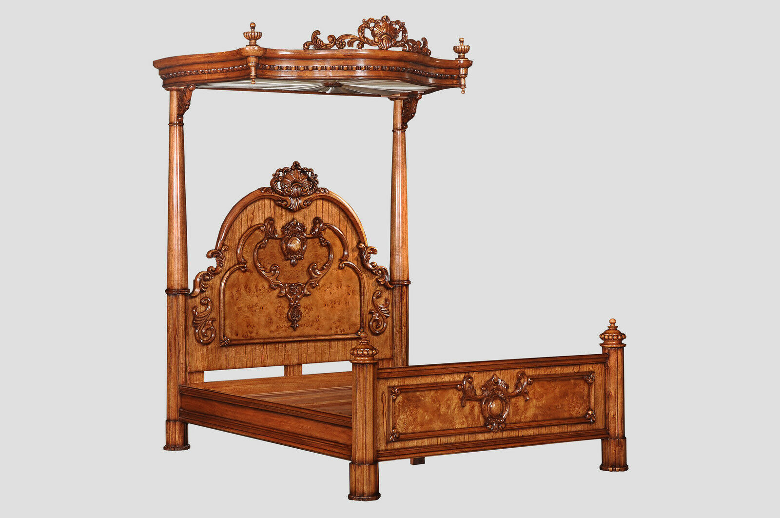 6' Super King Hampton Walnut Half Tester Canopy Bed Antique Reproduction BW003