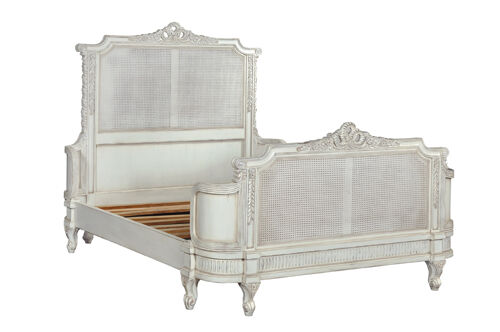 6' Super King Juliette French Caned Bed Antique White NEW CFR0009P