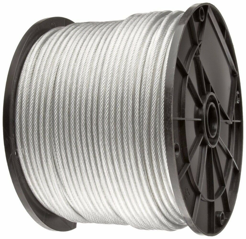 CLEAR VINYL COATED Wire Rope Cable, 3/64\