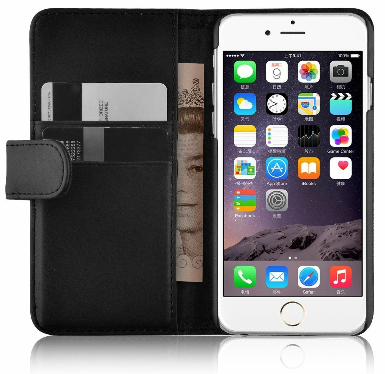 Housse etui coque cuir luxe portefeuille a rabat apple for Housse portefeuille iphone 6