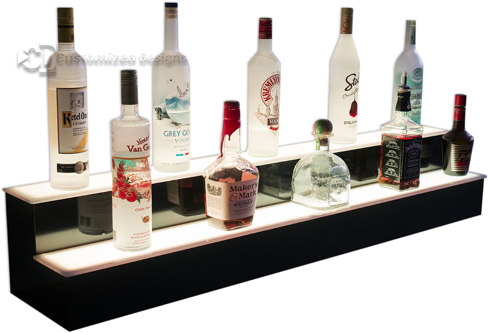 40 2 Step Led Lighted Glowing Liquor Bottle Display Shelf Home Back Bar Rack 1 Of 11free Shipping See More