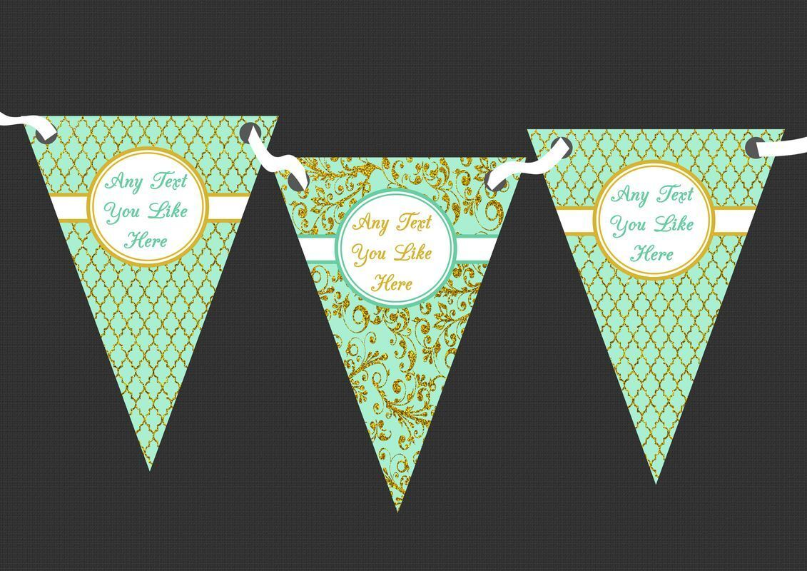 Vintage Mint Green And Gold Damask Personalised Wedding Bunting 1 Of 1free Shipping See More