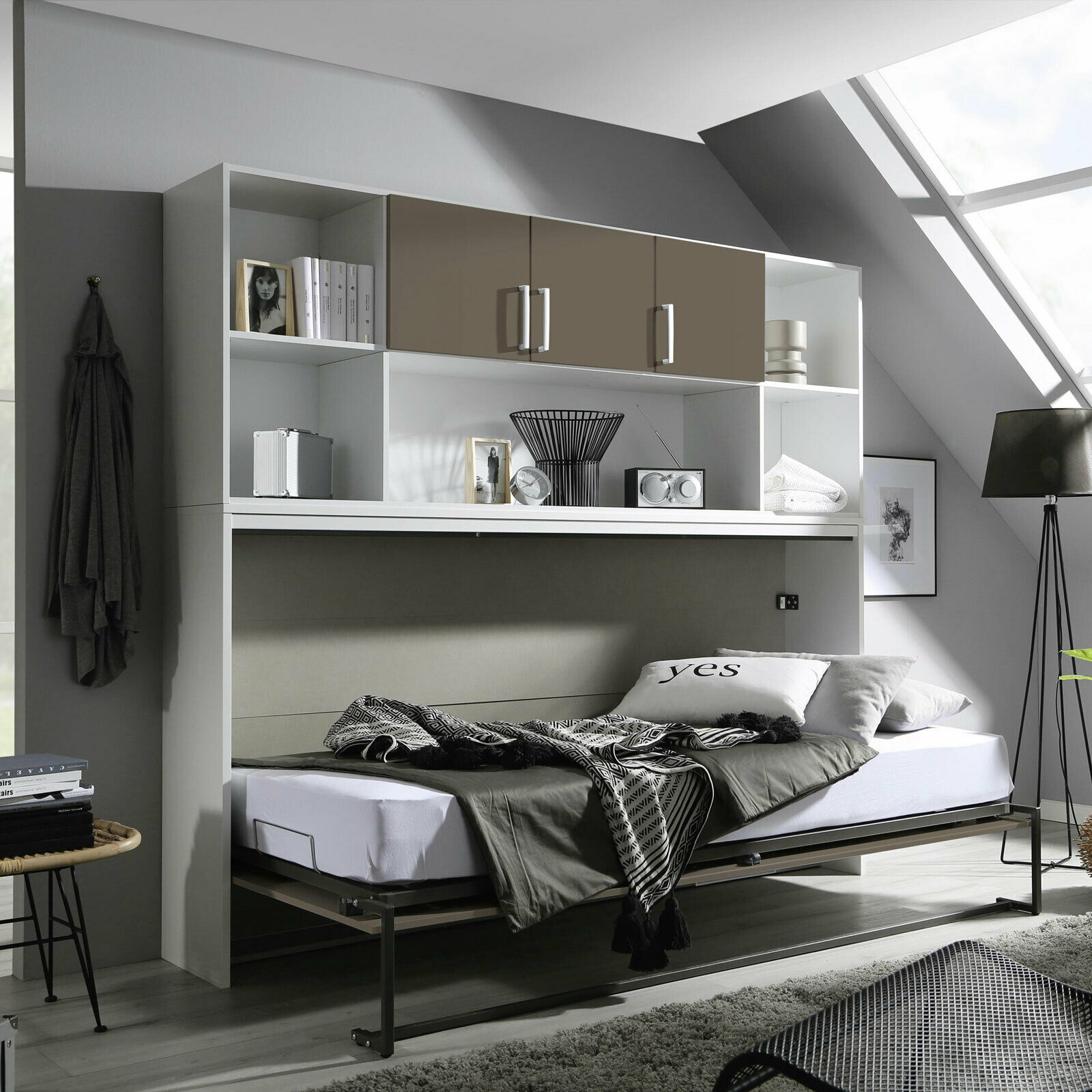 schrankbett albero bett kleiderschrank regal bett berbau wei lavagrau 90x200 cm eur 749 95. Black Bedroom Furniture Sets. Home Design Ideas