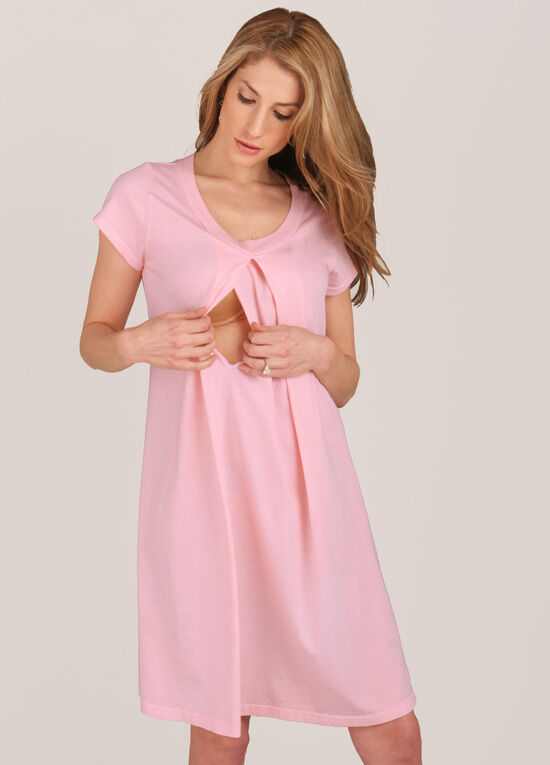 NEW - Floressa - Caitlin Pink Hospital Nursing Gown | Maternity Clothes