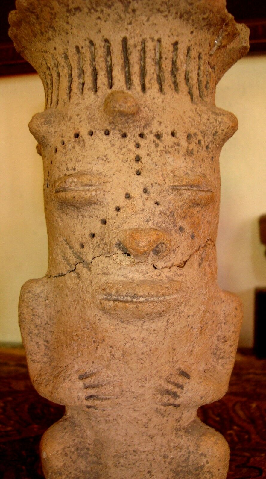 Rare Antique 3000 yr Old Ancient Pre Columbian Ceremonial Chief King Figure NR