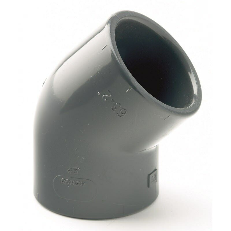PVC /PVCu Pipe Fittings Solvent Cement Plain Elbow 45° Metric