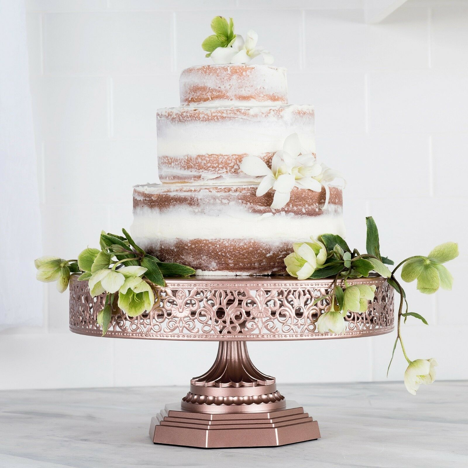 12 Inch Wedding Cake Stand Round Metal Event Party Display Pedestal Plate Tower