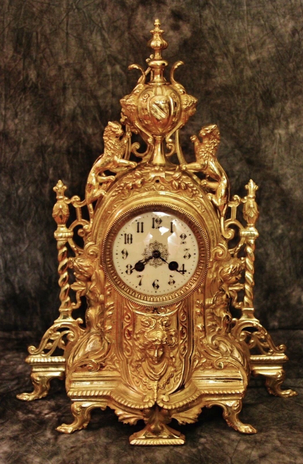Beautiful Large French Antique Gilt Bronze Clock 19Th C