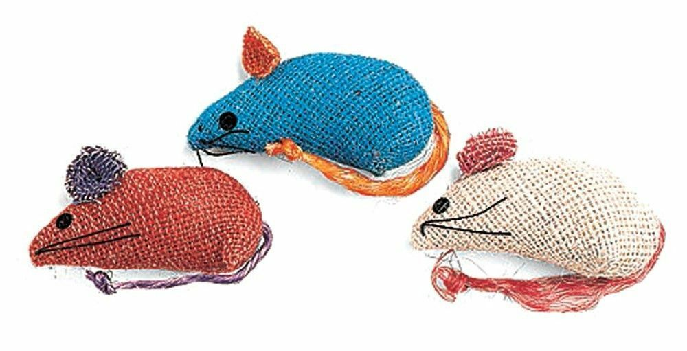 "Spot Ethical Pet  3"" Burlap Catnip Mice Cat Toys in Assorted Colours"