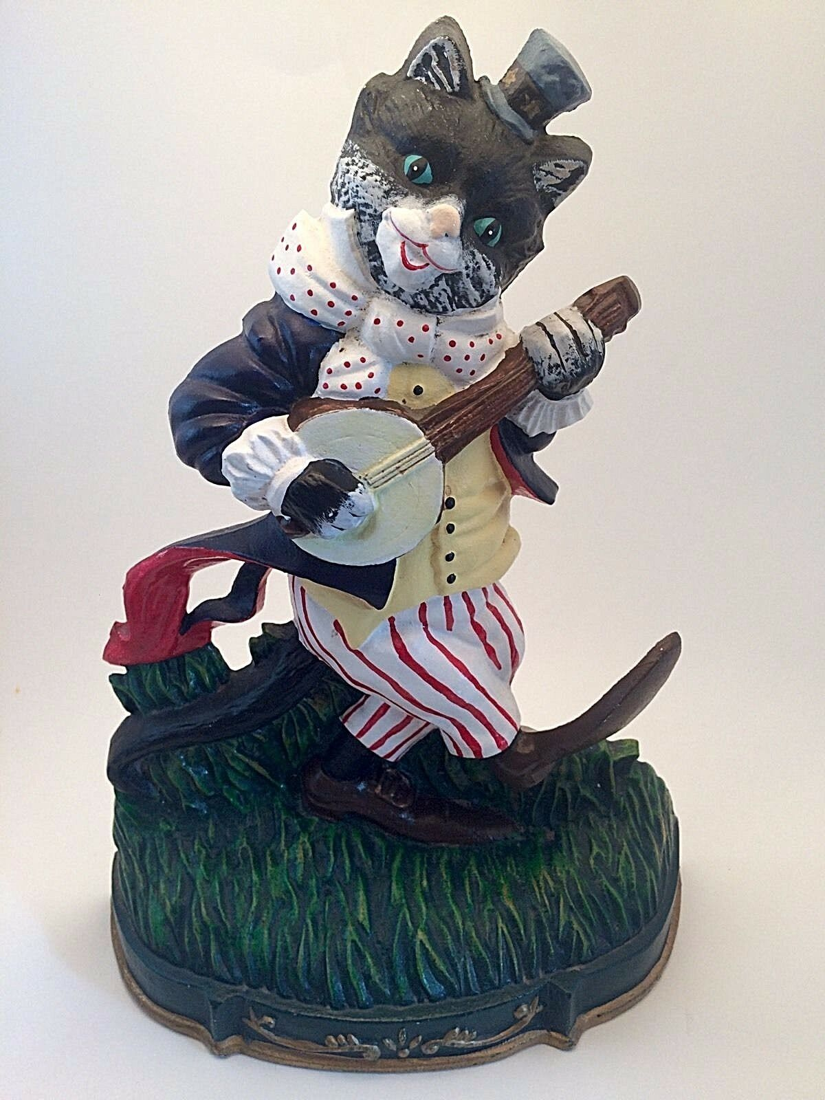RARE   Vintage Cast Iron Door Stop   Cat Playing Banjo   Good Times Merry  Ryhmes 1 Of 5Only 1 Available RARE   Vintage Cast Iron Door Stop ...