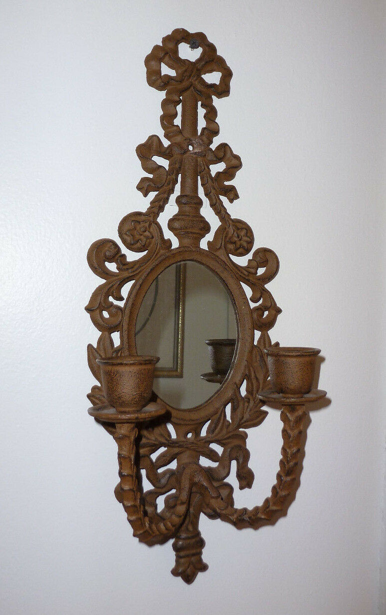 Vintage Rustic Wall Sconces : VINTAGE STYLE RUSTIC CAST IRON ORNATE MIRROR WALL SCONCE
