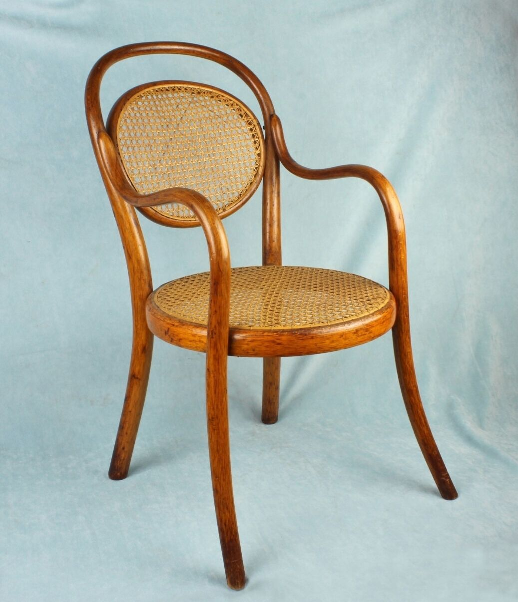 Antique Thonet Austria Wien CHILD'S Bentwood Cafe Bistro Chair Caned Seat+Back