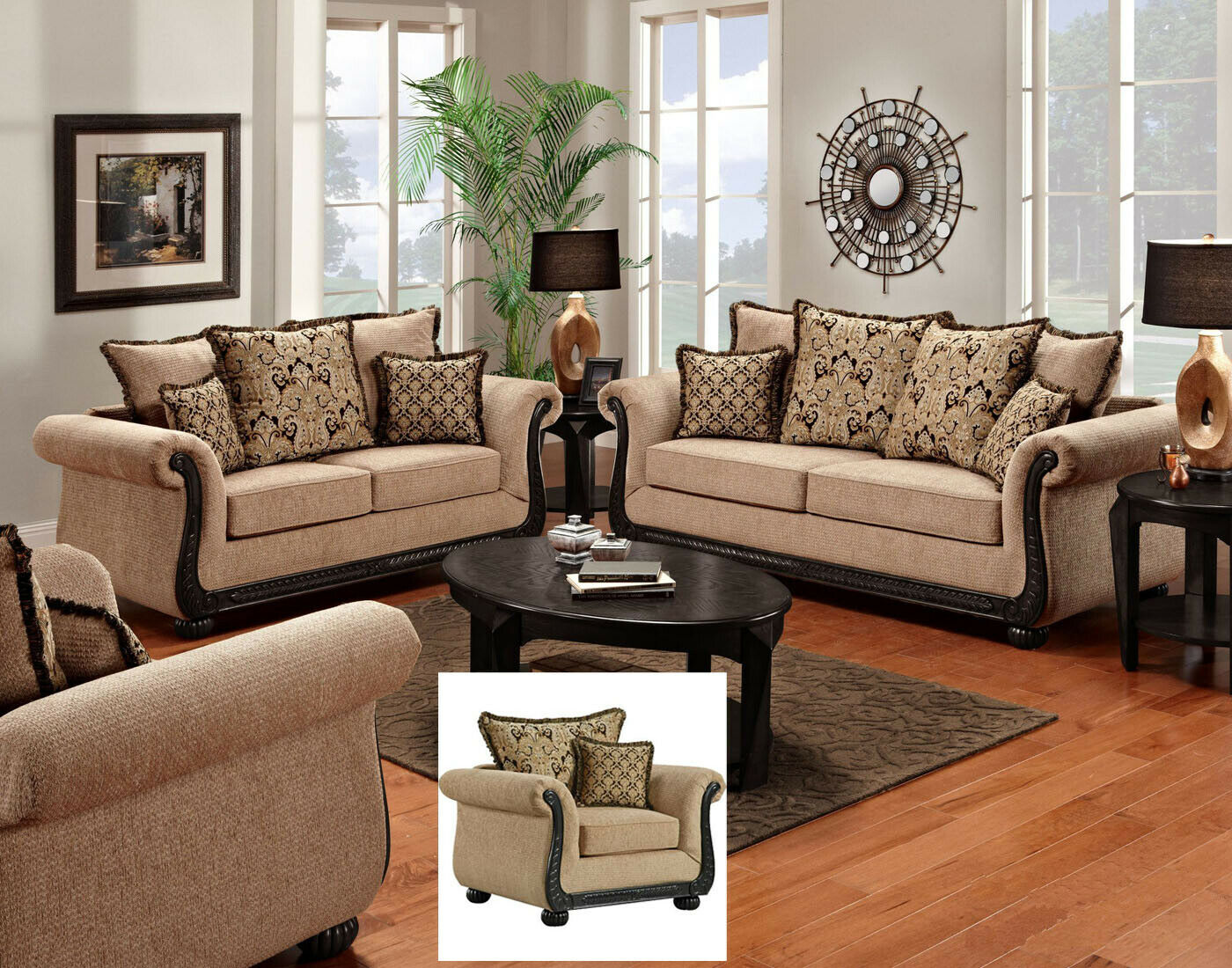 Delray traditional sofa loveseat chair 3pc living room furniture set chenille 1 of 1only 2 available