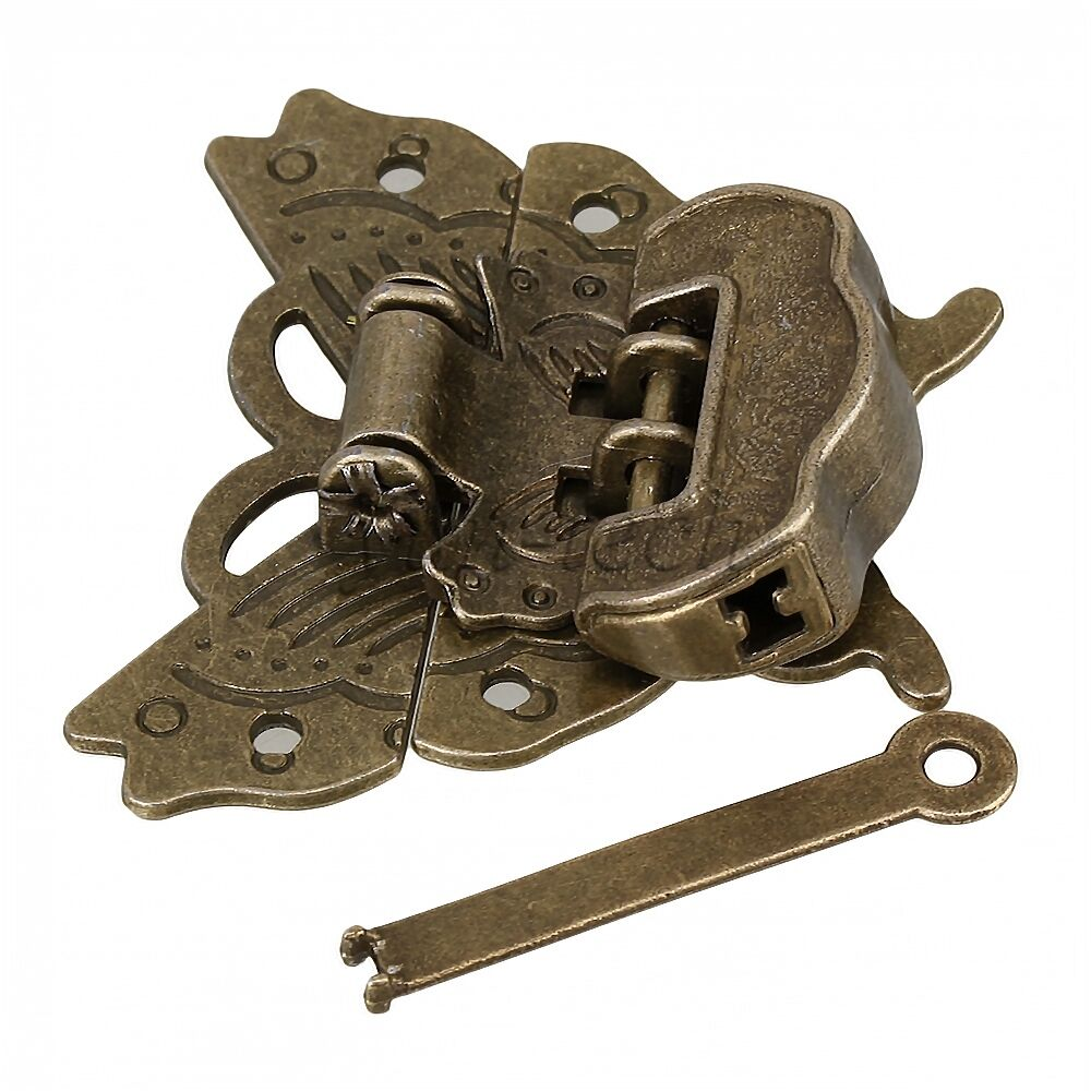 Vintage Style Lock + Latch Bronze Butterfly Buckle Clasp for Cabinet Jewelry Box