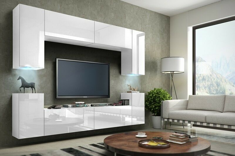 wohnwand h ngend tv wand fernseherschrank wei hochglanz h ngwand wohnzimmer eur 455 00. Black Bedroom Furniture Sets. Home Design Ideas