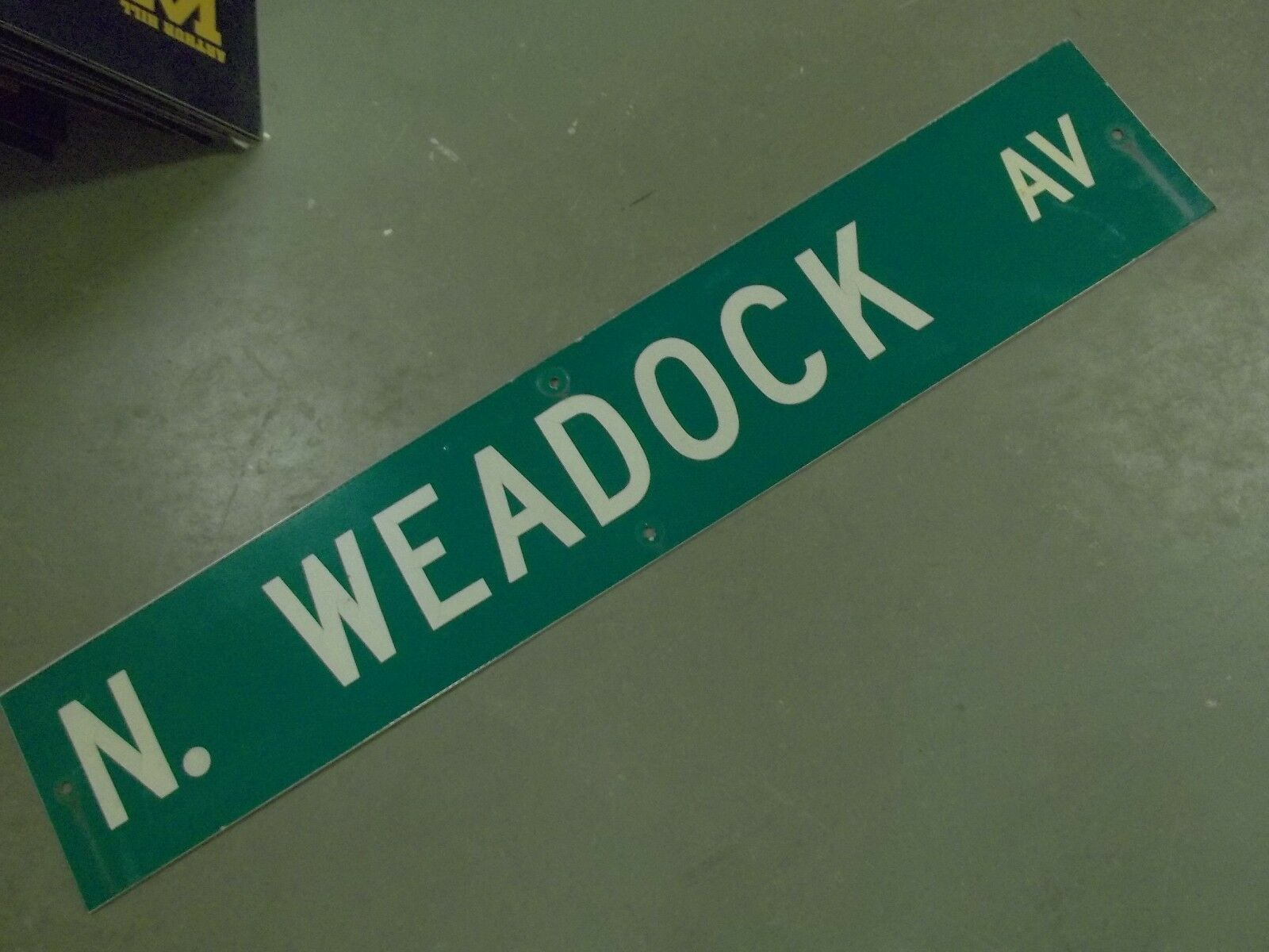 "Large Original N. Weadock Av Street Sign 48"" X 9"" White Lettering On Green"