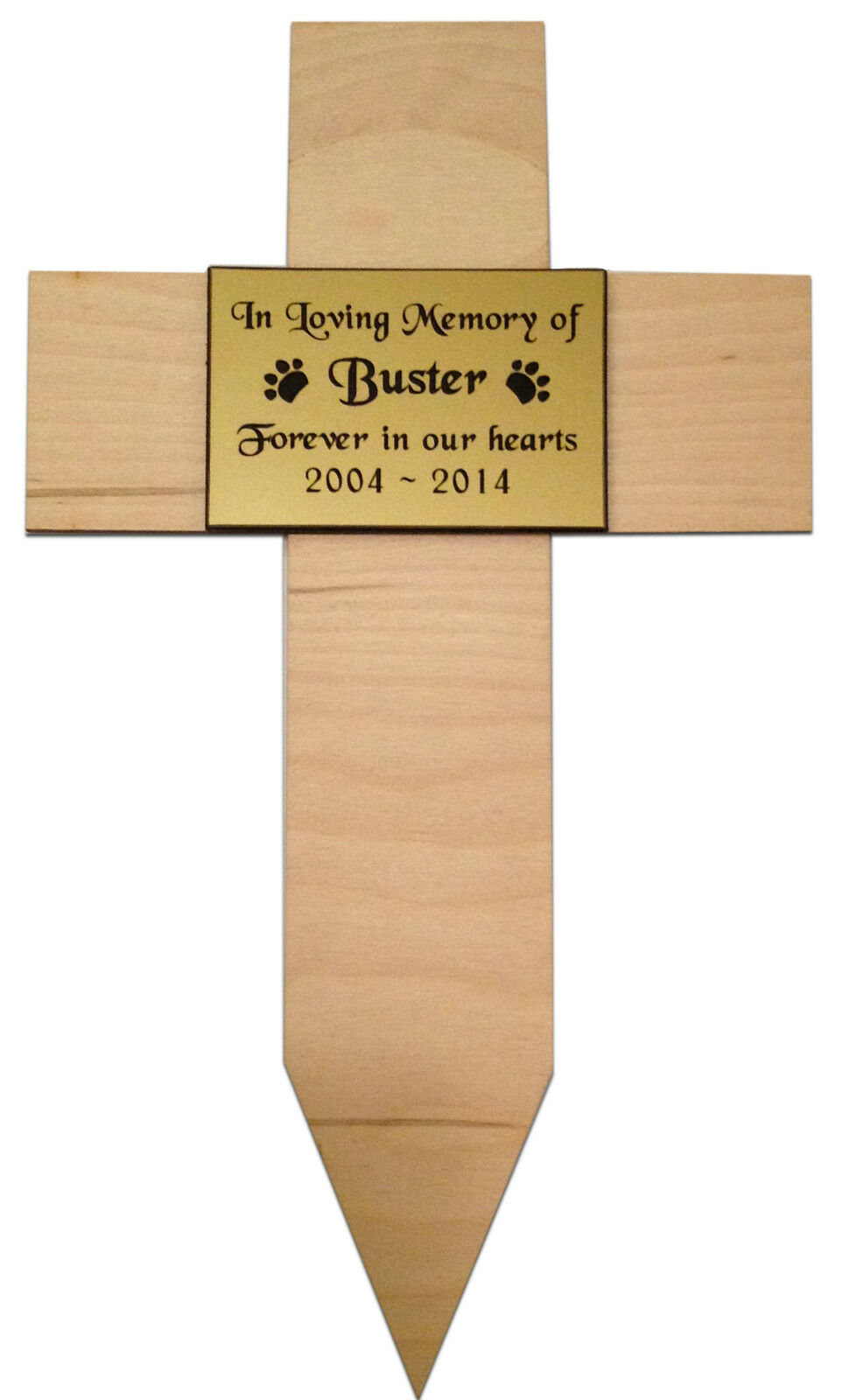 Personalised Engraved Pet Memorial Wood Cross Stake Grave Marker Plaque