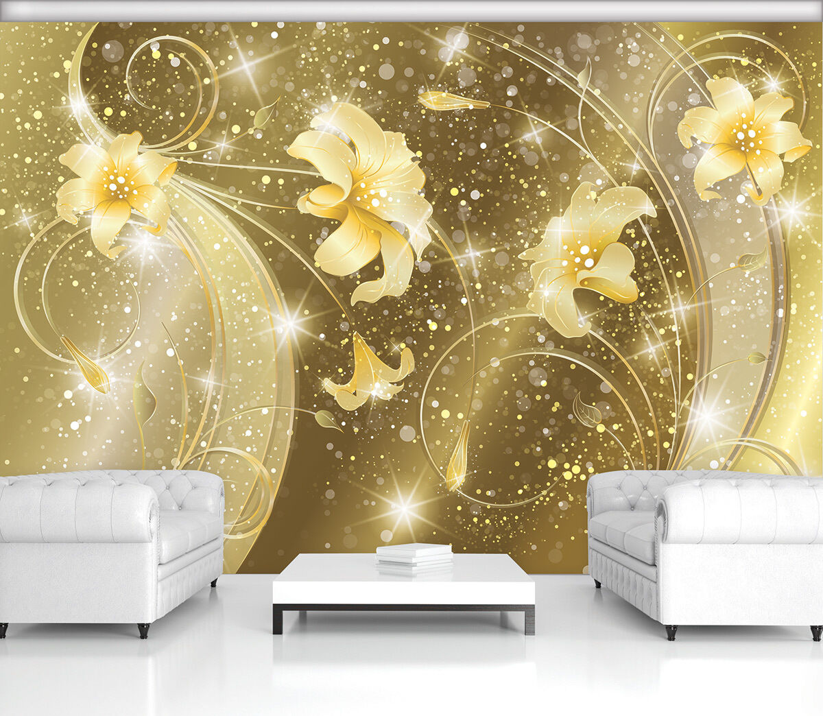 poster fototapeten fototapete tapeten foto ornament gold blumen lillie 2342 p8 eur 24 90. Black Bedroom Furniture Sets. Home Design Ideas