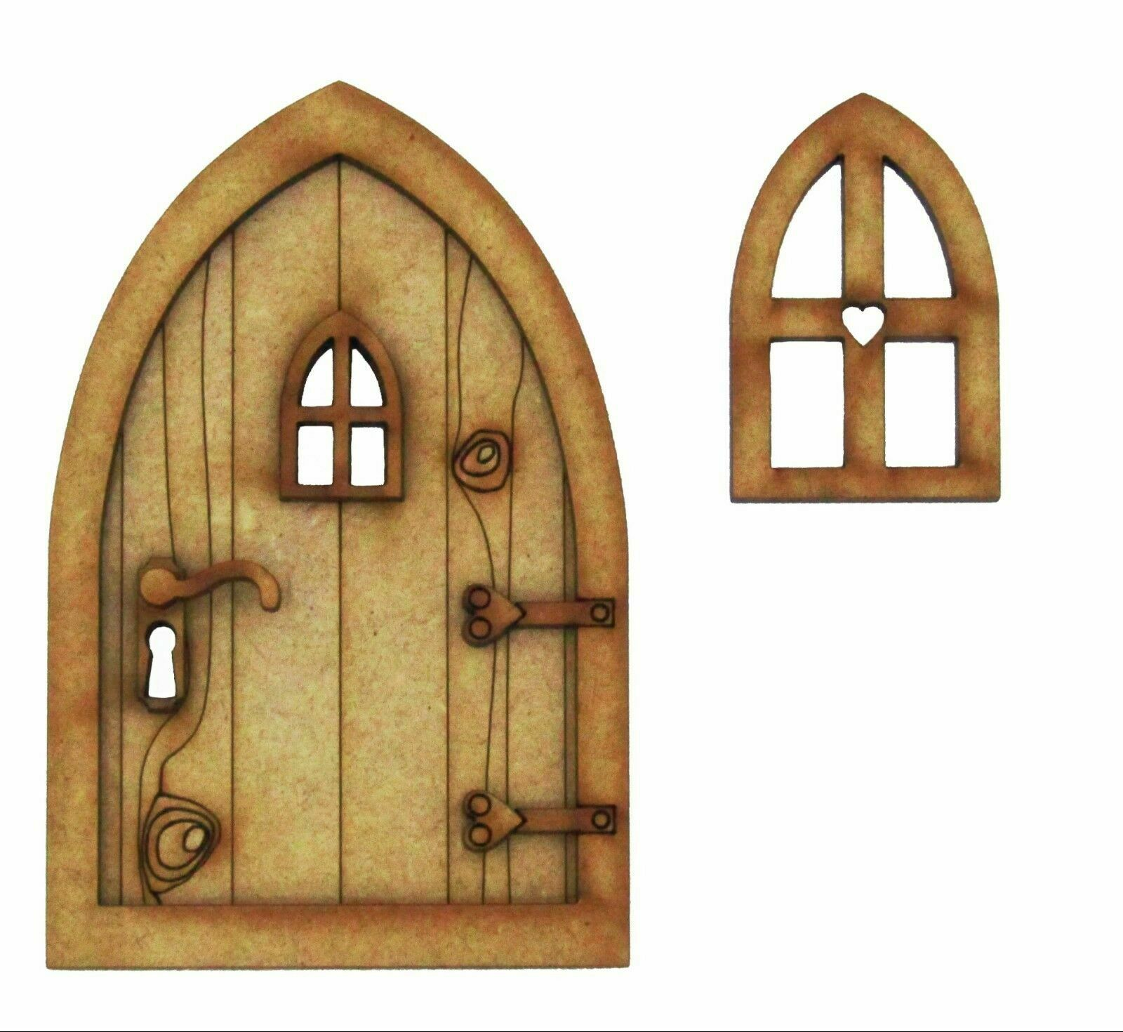 Country cottage 3d fairy door wooden craft kit with fairy for Wooden fairy doors